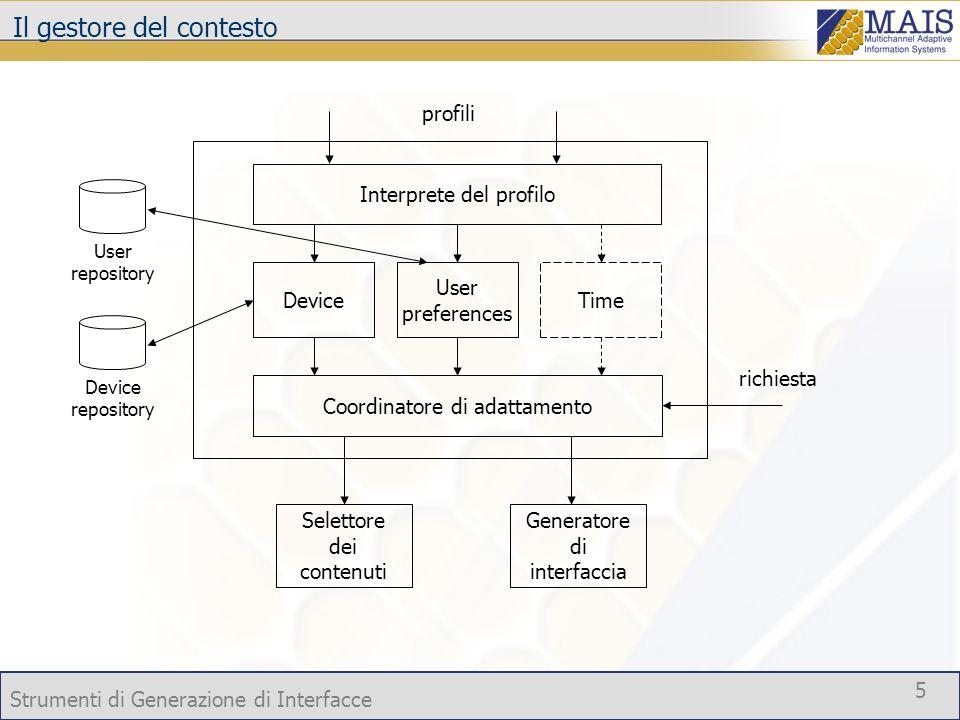 Strumenti di Generazione di Interfacce 5 Il gestore del contesto Device User preferences Time Coordinatore di adattamento Device repository Selettore