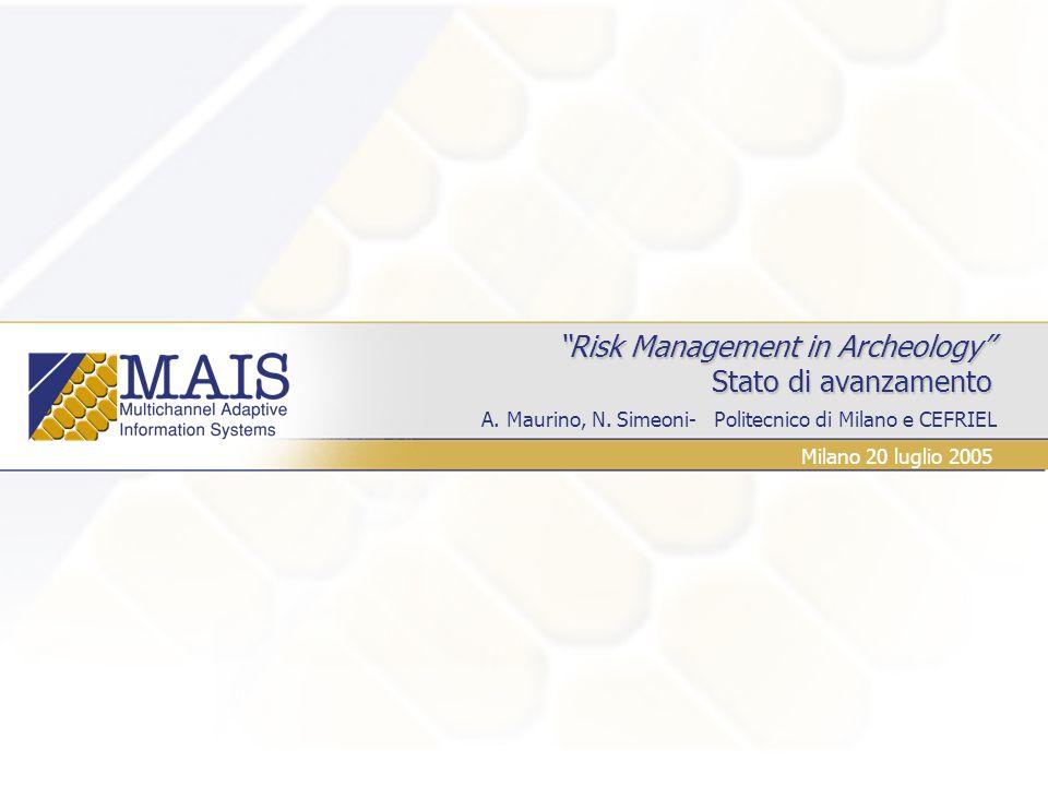 A. Maurino, N. Simeoni- Politecnico di Milano e CEFRIEL Risk Management in Archeology Stato di avanzamento Risk Management in Archeology Stato di avan