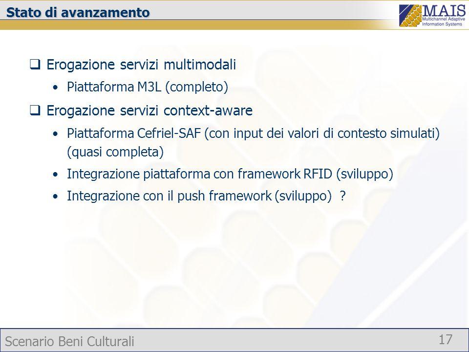 Scenario Beni Culturali 17 Stato di avanzamento Erogazione servizi multimodali Piattaforma M3L (completo) Erogazione servizi context-aware Piattaforma