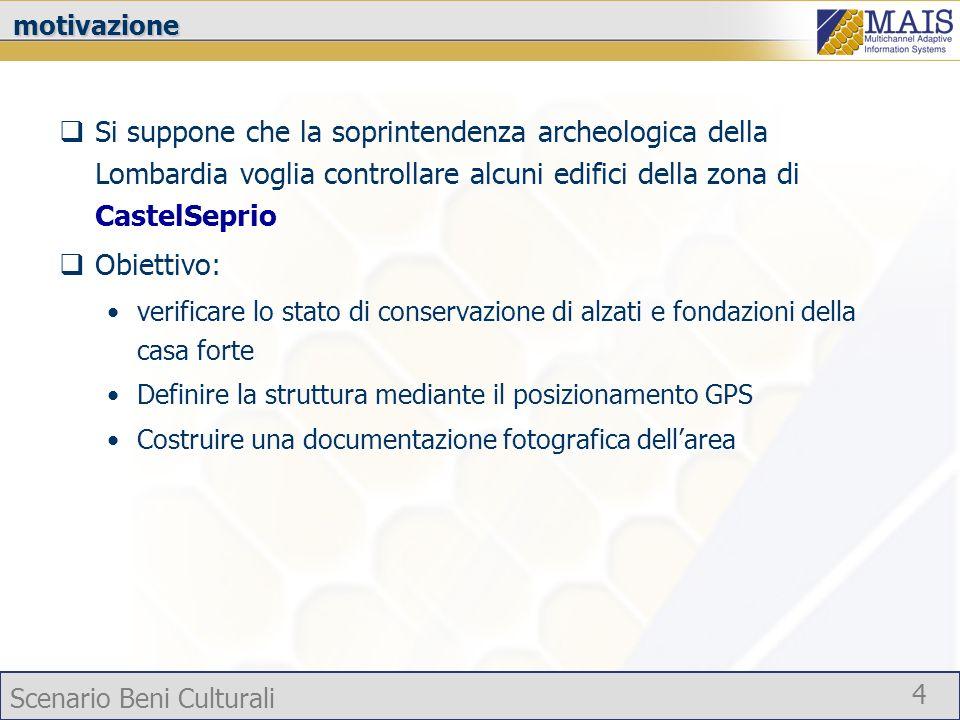 Scenario Beni Culturali 4motivazione Si suppone che la soprintendenza archeologica della Lombardia voglia controllare alcuni edifici della zona di Cas