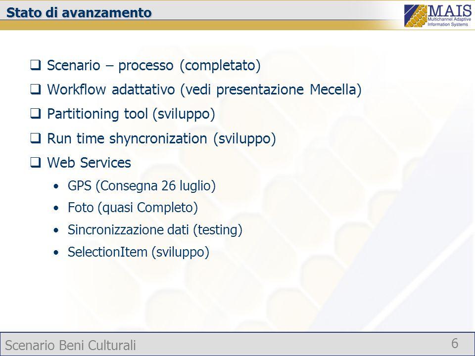 Scenario Beni Culturali 6 Stato di avanzamento Scenario – processo (completato) Workflow adattativo (vedi presentazione Mecella) Partitioning tool (sv