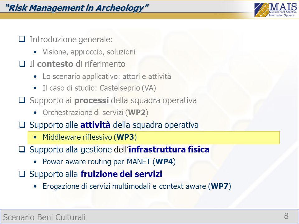 Scenario Beni Culturali 8 Risk Management in Archeology Introduzione generale: Visione, approccio, soluzioni Il contesto di riferimento Lo scenario ap