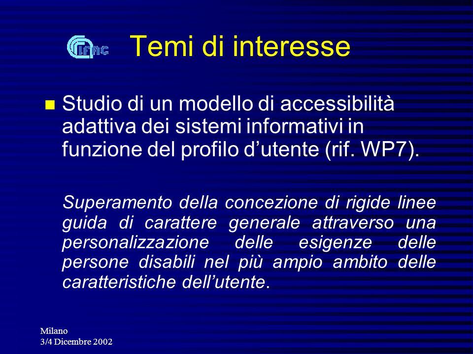 Milano 3/4 Dicembre 2002 Studio di un modello di accessibilità adattiva dei sistemi informativi in funzione del profilo dutente (rif. WP7). Superament