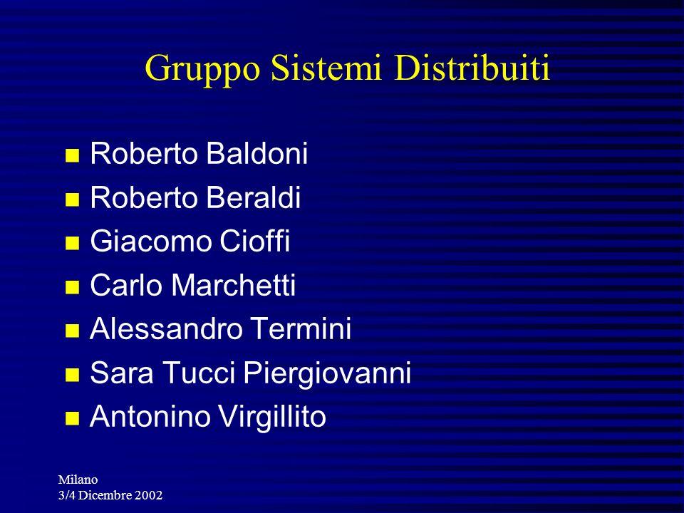 Milano 3/4 Dicembre 2002 Gruppo Sistemi Distribuiti Roberto Baldoni Roberto Beraldi Giacomo Cioffi Carlo Marchetti Alessandro Termini Sara Tucci Pierg