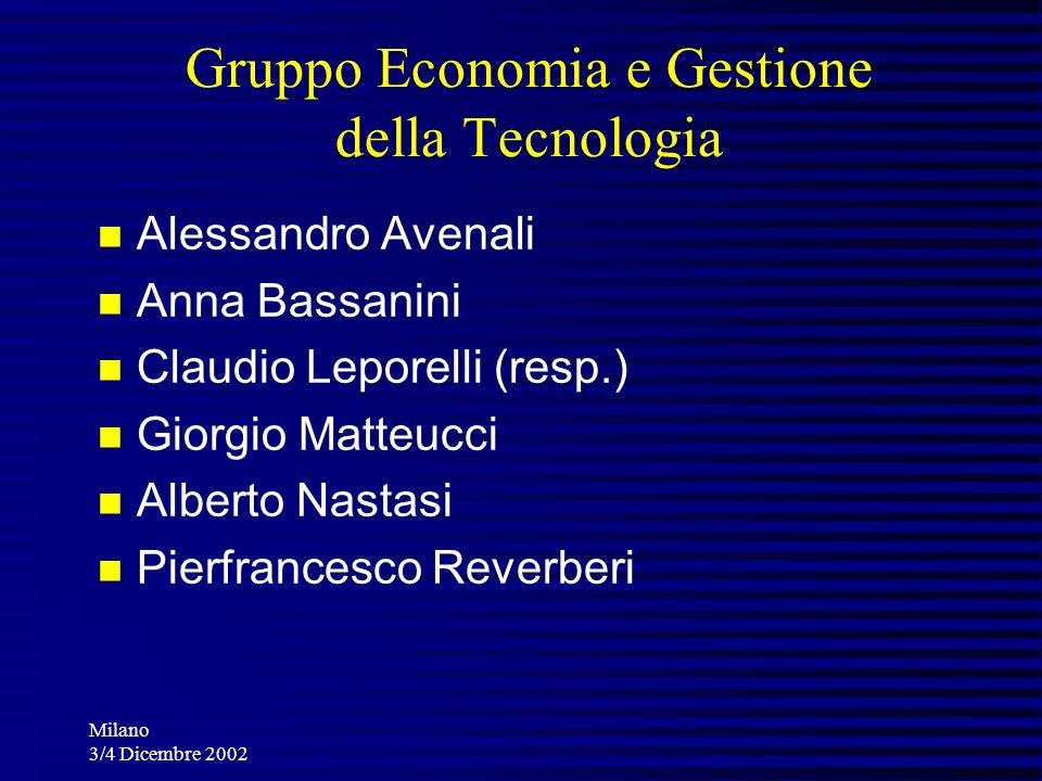 Milano 3/4 Dicembre 2002 Gruppo Economia e Gestione della Tecnologia Alessandro Avenali Anna Bassanini Claudio Leporelli (resp.) Giorgio Matteucci Alb