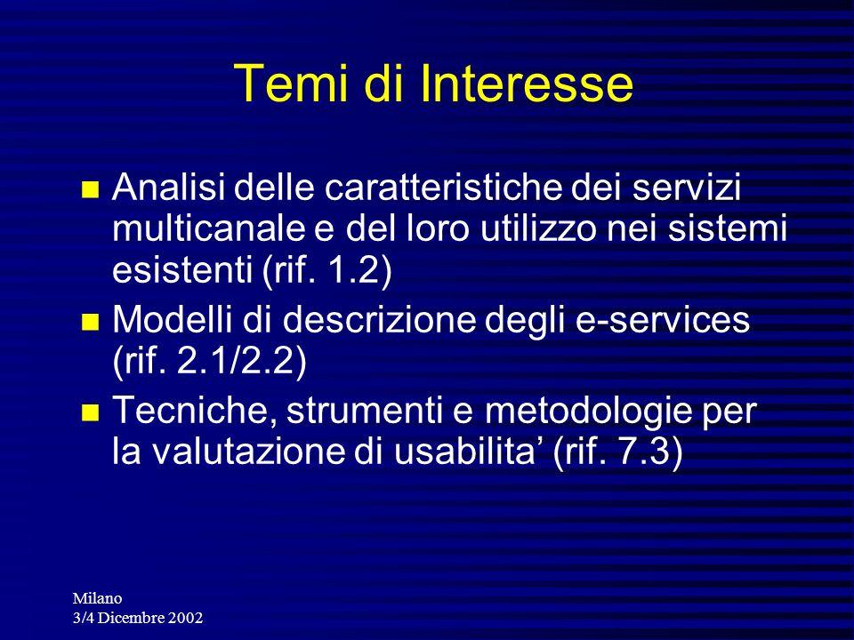 Milano 3/4 Dicembre 2002 Temi di Interesse Analisi delle caratteristiche dei servizi multicanale e del loro utilizzo nei sistemi esistenti (rif. 1.2)
