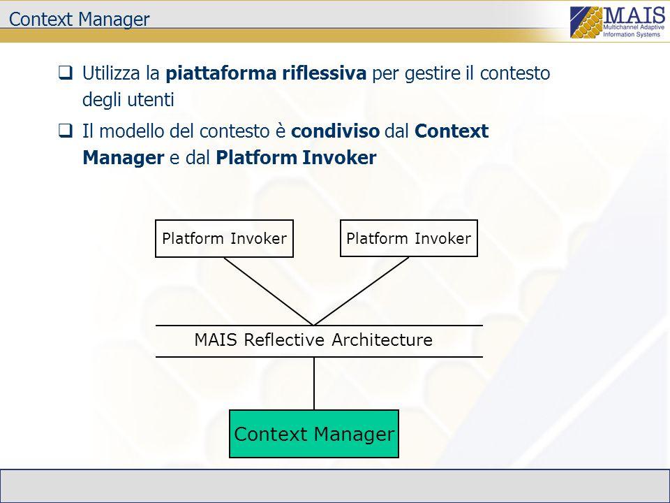 Context Manager MAIS Reflective Architecture Platform Invoker Utilizza la piattaforma riflessiva per gestire il contesto degli utenti Il modello del contesto è condiviso dal Context Manager e dal Platform Invoker