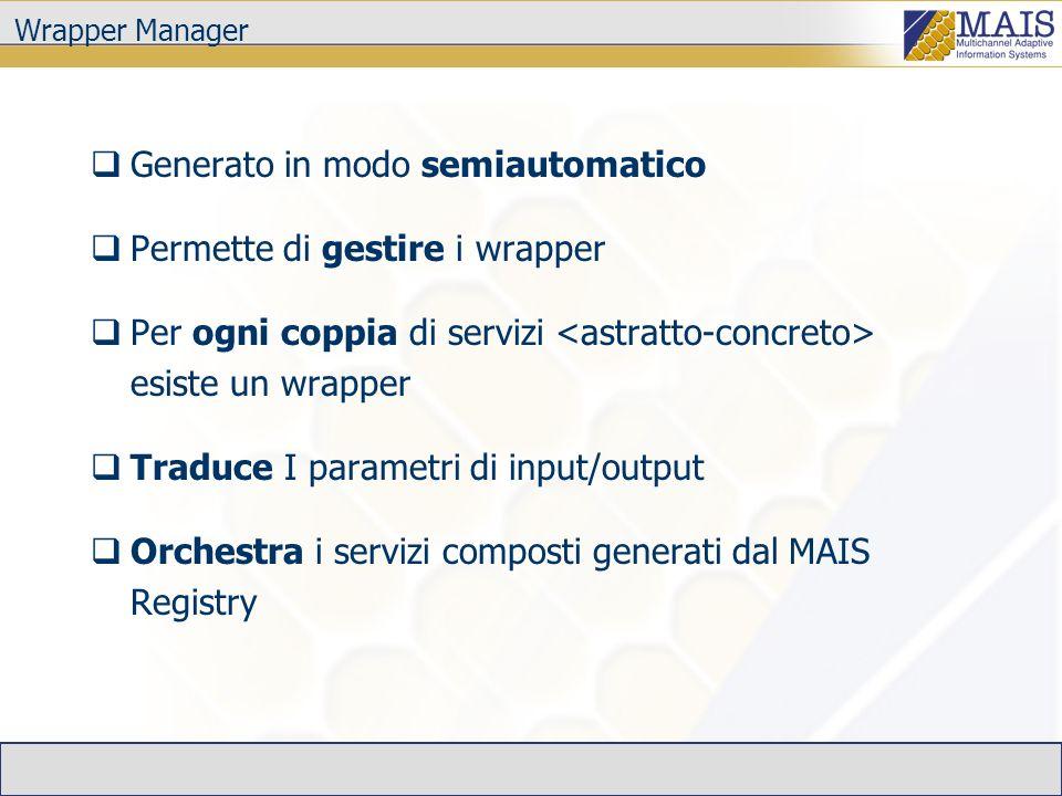 Wrapper Manager Generato in modo semiautomatico Permette di gestire i wrapper Per ogni coppia di servizi esiste un wrapper Traduce I parametri di input/output Orchestra i servizi composti generati dal MAIS Registry