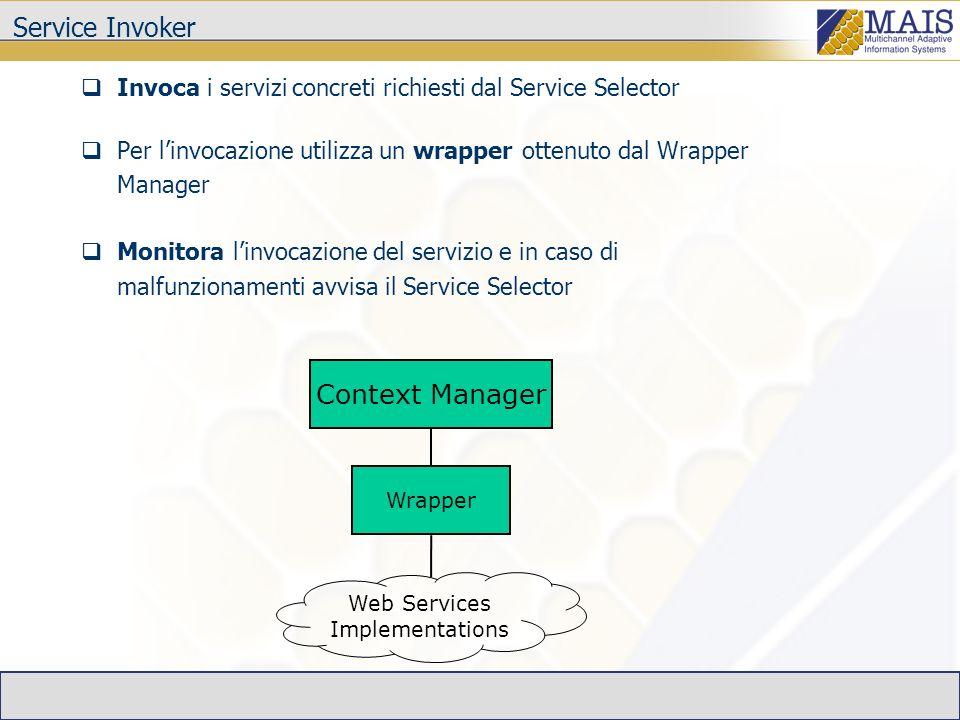 Service Invoker Invoca i servizi concreti richiesti dal Service Selector Per linvocazione utilizza un wrapper ottenuto dal Wrapper Manager Monitora linvocazione del servizio e in caso di malfunzionamenti avvisa il Service Selector Context Manager Wrapper Web Services Implementations