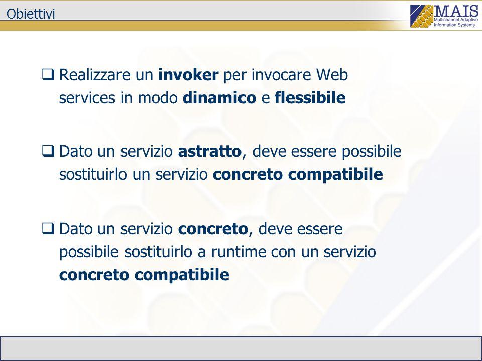 Obiettivi Realizzare un invoker per invocare Web services in modo dinamico e flessibile Dato un servizio astratto, deve essere possibile sostituirlo un servizio concreto compatibile Dato un servizio concreto, deve essere possibile sostituirlo a runtime con un servizio concreto compatibile