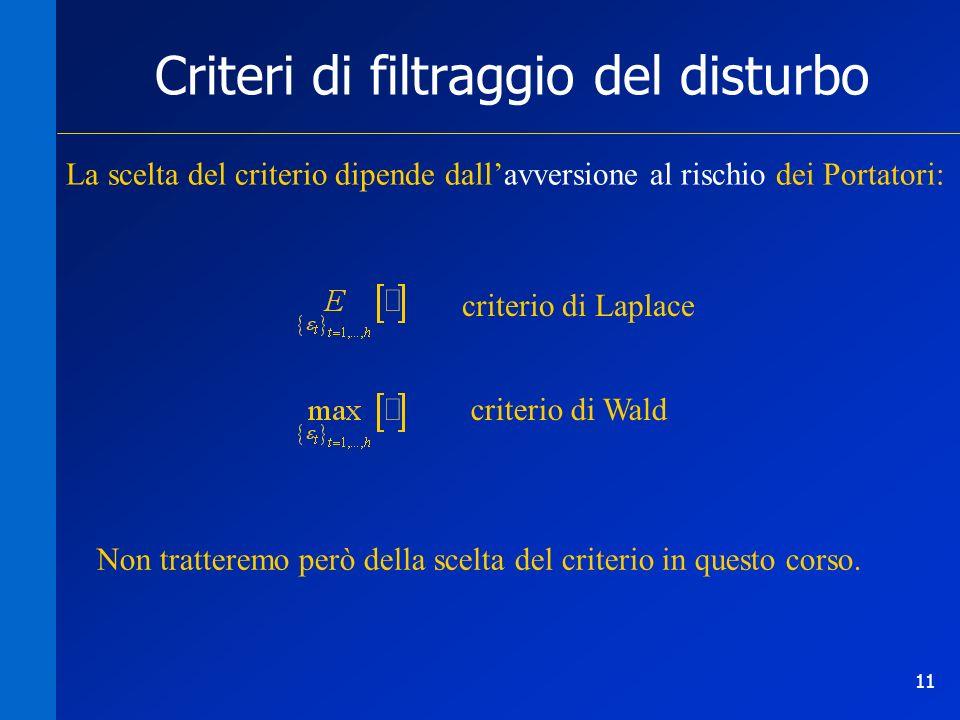 11 Criteri di filtraggio del disturbo La scelta del criterio dipende dallavversione al rischio dei Portatori: criterio di Laplace criterio di Wald Non tratteremo però della scelta del criterio in questo corso.