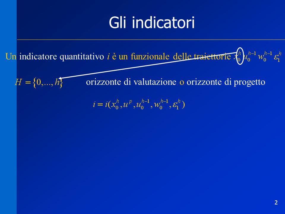 2 Gli indicatori Un indicatore quantitativo i è un funzionale delle traiettorie orizzonte di valutazione o orizzonte di progetto