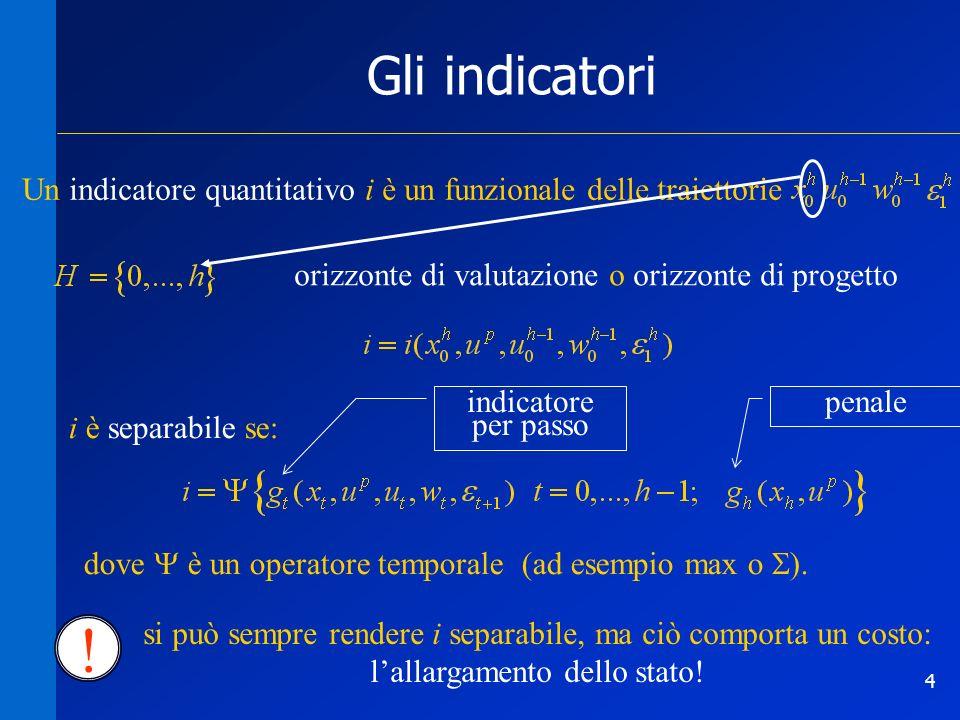 4 Gli indicatori Un indicatore quantitativo i è un funzionale delle traiettorie orizzonte di valutazione o orizzonte di progetto i è separabile se: dove è un operatore temporale (ad esempio max o ).
