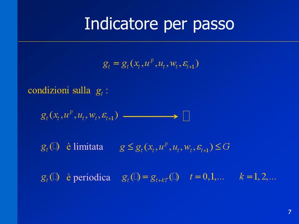8 Indicatore per passo Può accadere che largomento naturale di un indicatore per passo non sia direttamente la tupla ( x t, u p, u t, w t, t +1 ) livello lacuale Esempio: