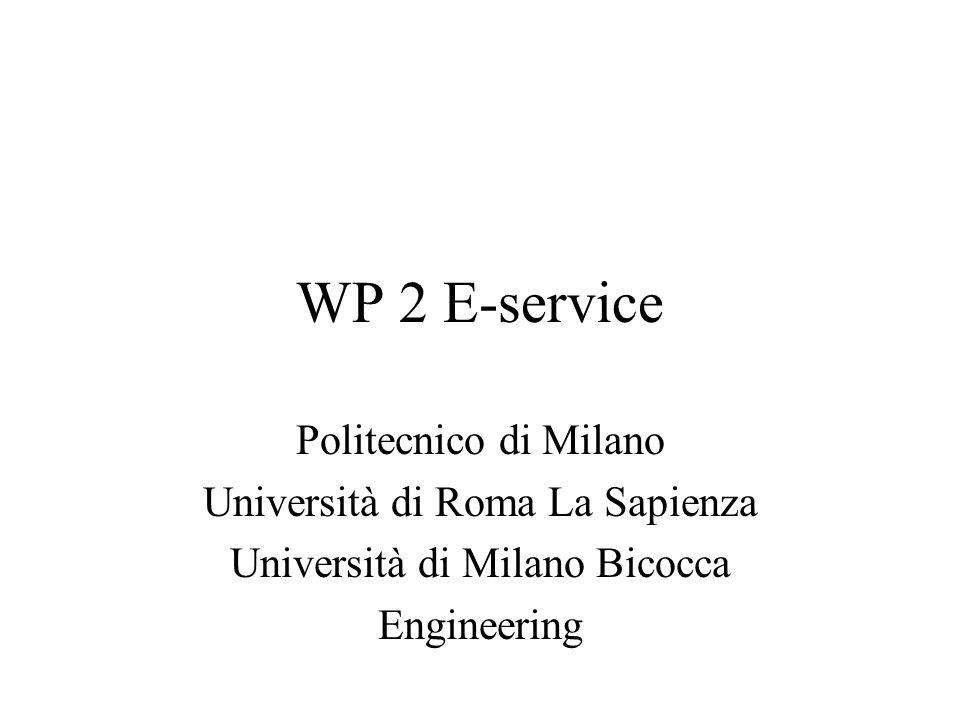 WP 2 E-service Politecnico di Milano Università di Roma La Sapienza Università di Milano Bicocca Engineering
