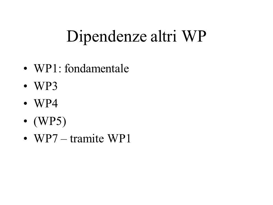 Dipendenze altri WP WP1: fondamentale WP3 WP4 (WP5) WP7 – tramite WP1