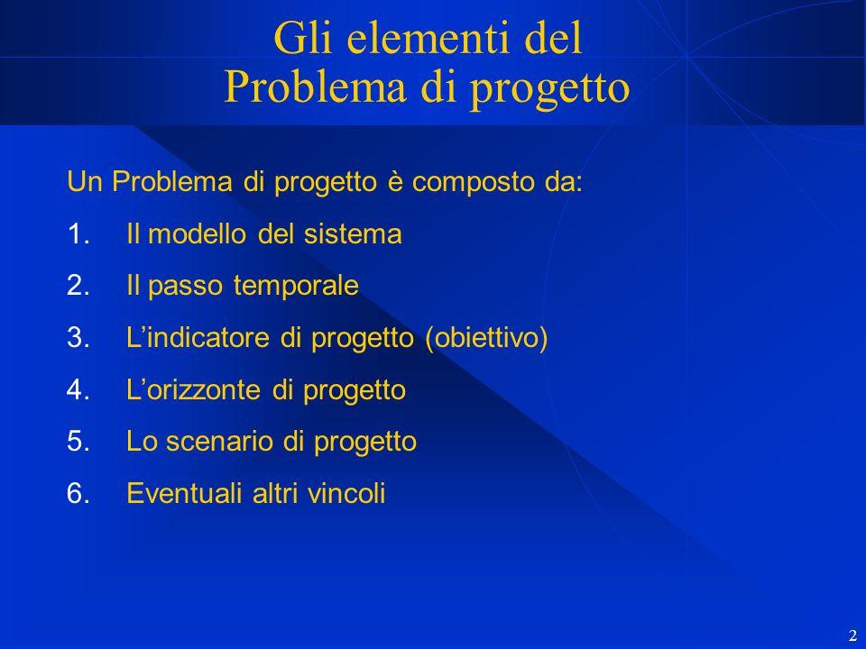2 Gli elementi del Problema di progetto Un Problema di progetto è composto da: 1.