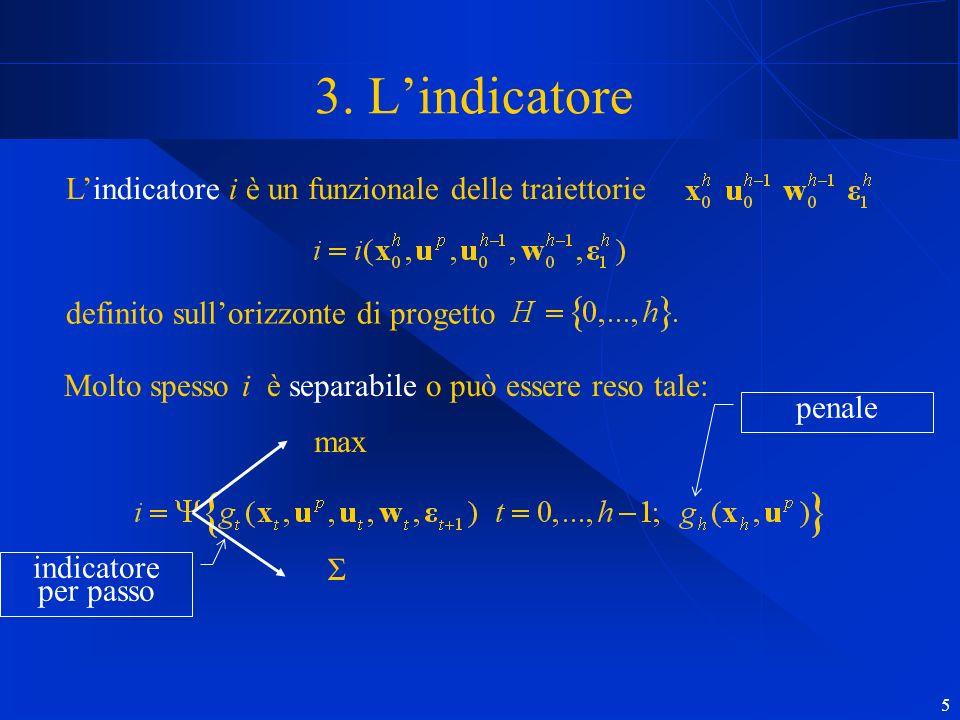 5 3. Lindicatore Lindicatore i è un funzionale delle traiettorie definito sullorizzonte di progetto Molto spesso i è separabile o può essere reso tale