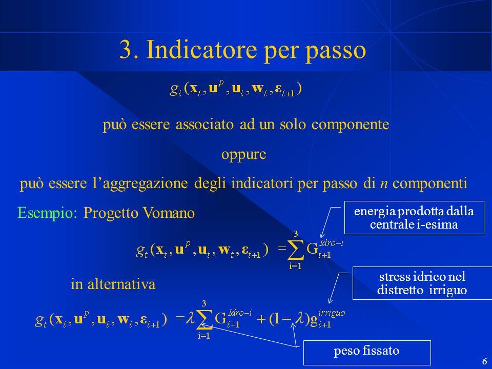 6 3. Indicatore per passo può essere associato ad un solo componente oppure può essere laggregazione degli indicatori per passo di n componenti Esempi