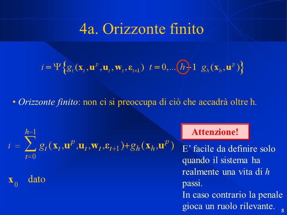 8 4a. Orizzonte finito Orizzonte finito: non ci si preoccupa di ciò che accadrà oltre h.