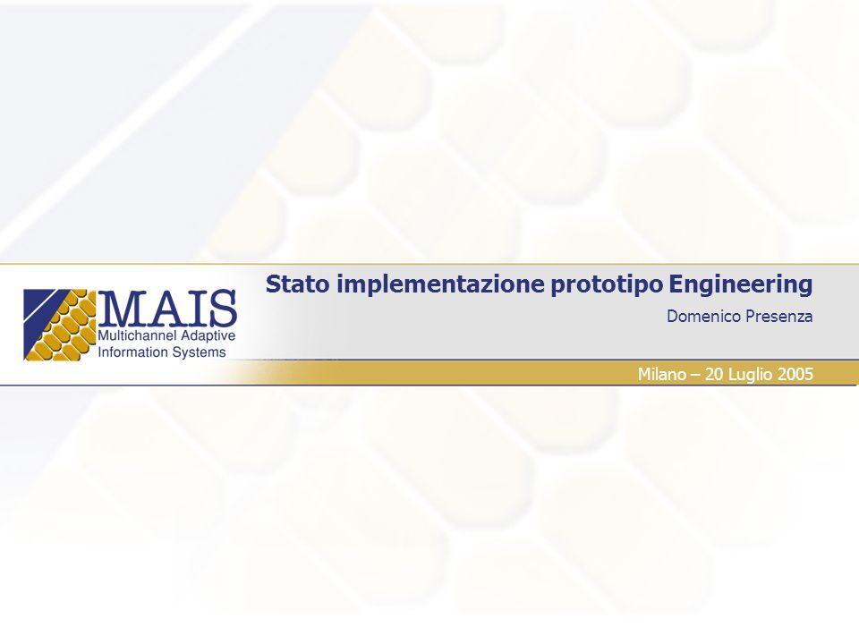 Stato implementazione prototipo Engineering 22 Situazione al 20 Luglio 2005 Platform Invoker APIs Platform Invoker Design (R2.2.1) login(user) initiate(mais_service, parameters) search(mais_service, parameters) As is public User login(String usr,String psw); public WSDLMessage initiate(Context context); public String[] search(String className);