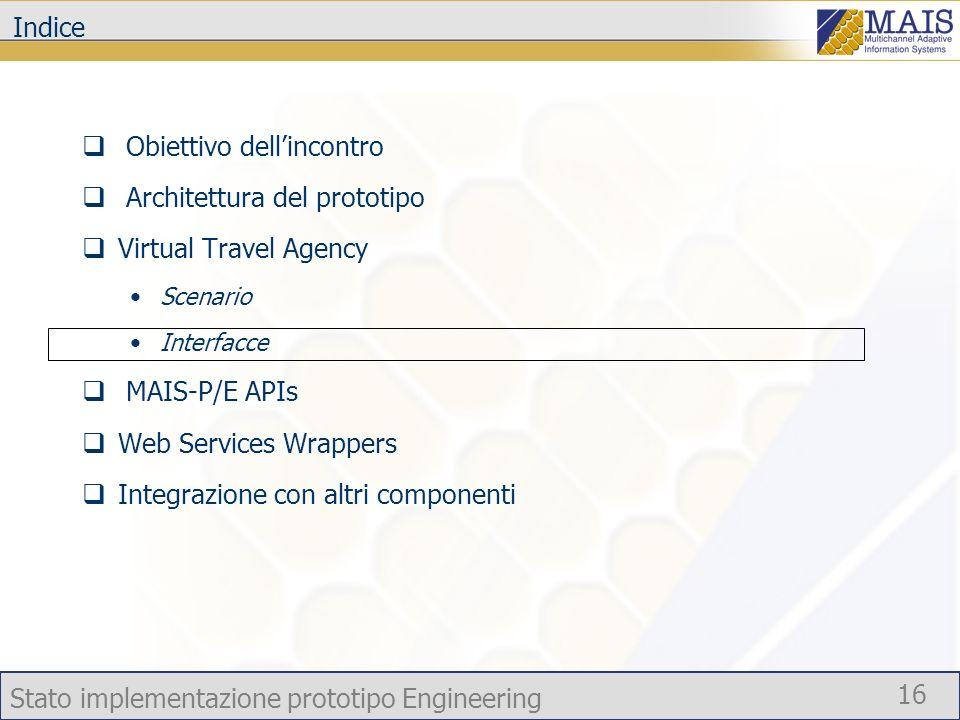 Stato implementazione prototipo Engineering 16 Indice Obiettivo dellincontro Architettura del prototipo Virtual Travel Agency Scenario Interfacce MAIS-P/E APIs Web Services Wrappers Integrazione con altri componenti