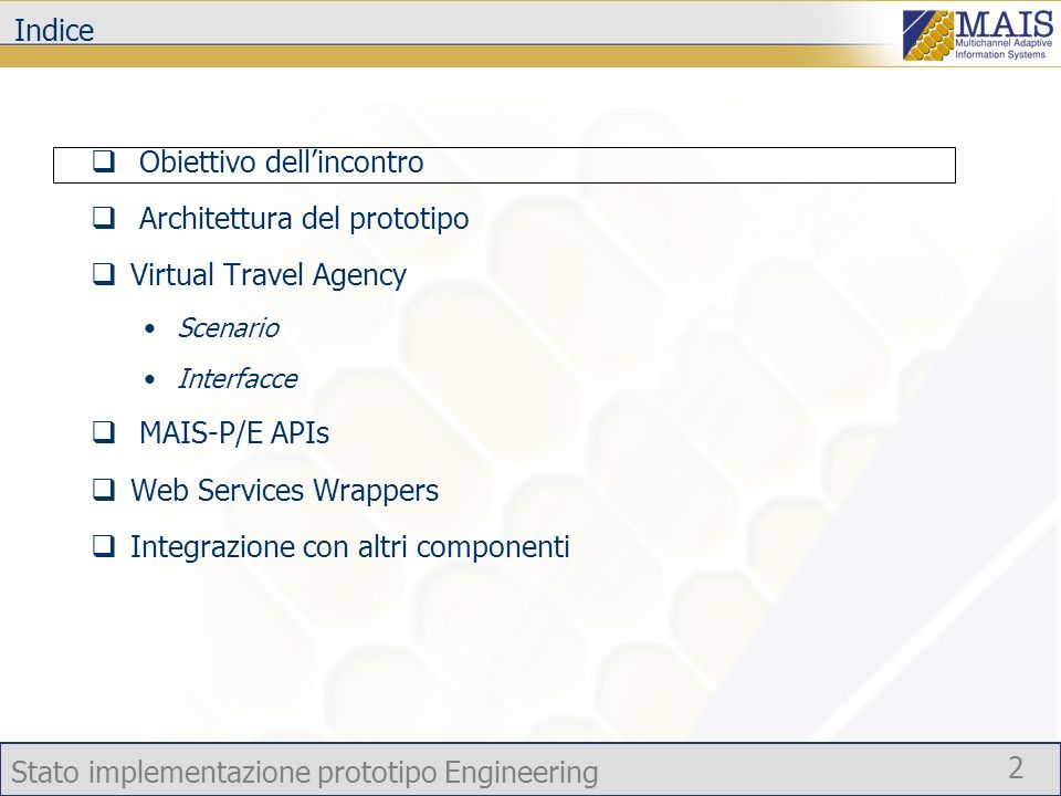 Stato implementazione prototipo Engineering 23 Situazione al 20 Luglio 2005 Service Invoker APIs Service Invoker Design (R2.2.1) init(mais_service, parameters); invoke(mais_service, operation, parameters); As is public Context init(Context c); public WSDLMessage invoke(String serviceAddress, QName portType, String operation, WSDLMessage arg); public WSDLMessage invokeOne(String[] candidates, WSDLMessage arg);