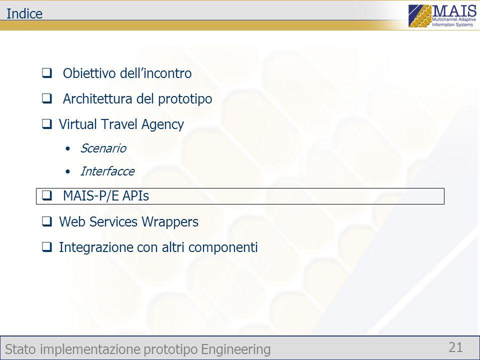 Stato implementazione prototipo Engineering 21 Indice Obiettivo dellincontro Architettura del prototipo Virtual Travel Agency Scenario Interfacce MAIS-P/E APIs Web Services Wrappers Integrazione con altri componenti