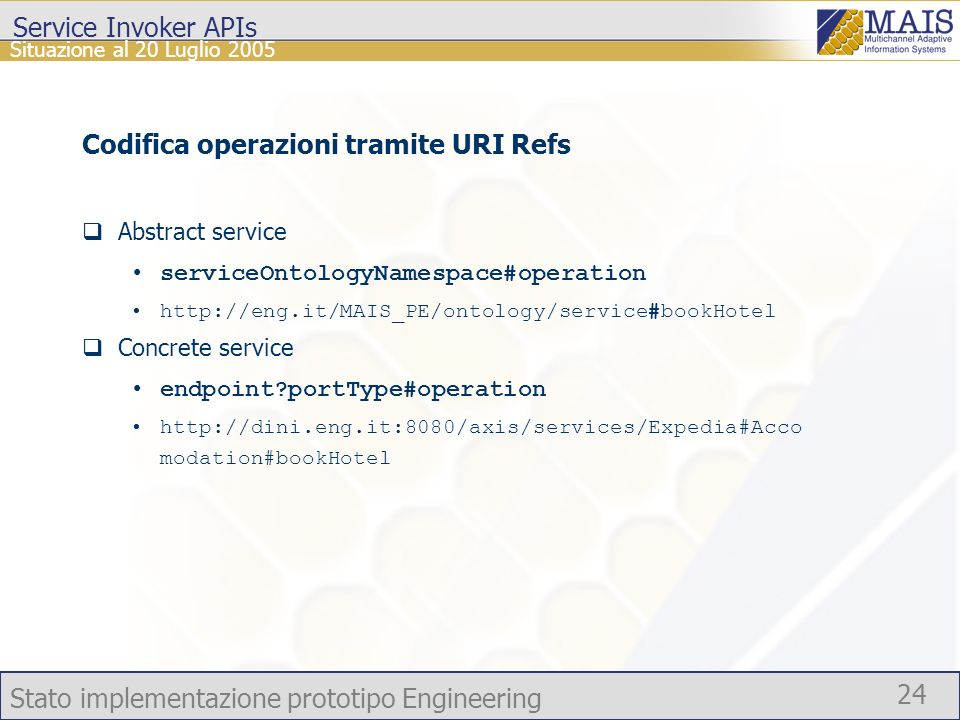 Stato implementazione prototipo Engineering 24 Situazione al 20 Luglio 2005 Service Invoker APIs Codifica operazioni tramite URI Refs Abstract service serviceOntologyNamespace#operation http://eng.it/MAIS_PE/ontology/service#bookHotel Concrete service endpoint portType#operation http://dini.eng.it:8080/axis/services/Expedia#Acco modation#bookHotel