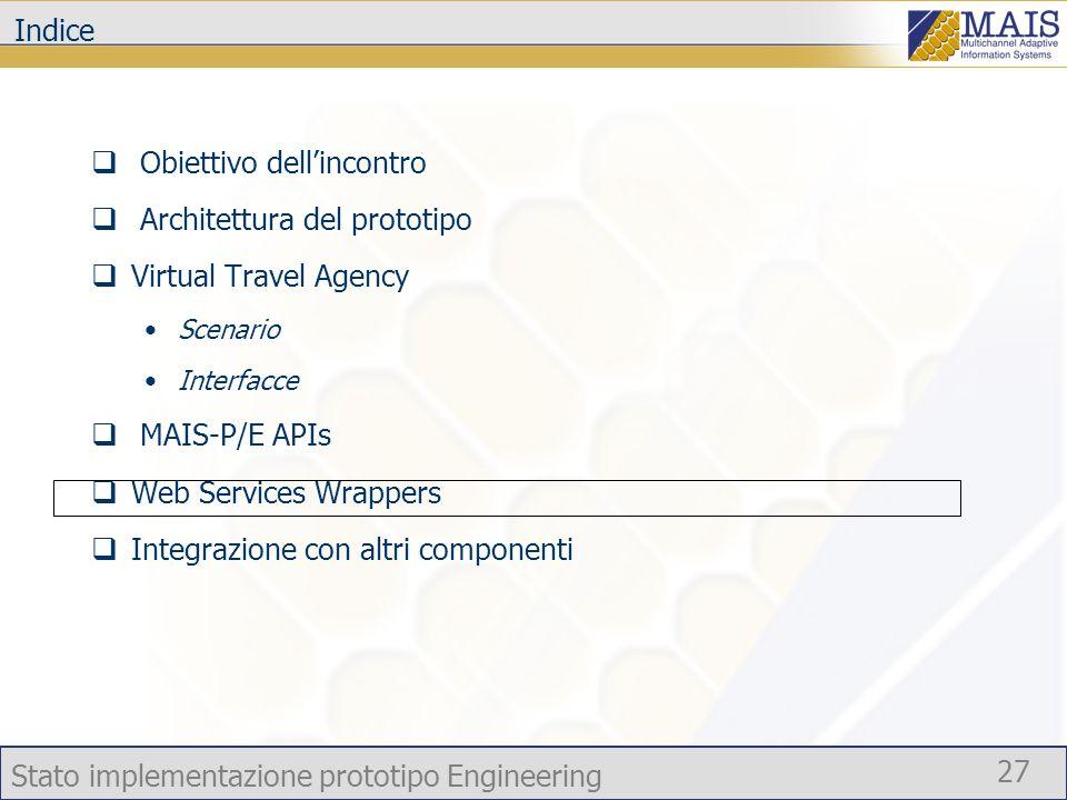 Stato implementazione prototipo Engineering 27 Indice Obiettivo dellincontro Architettura del prototipo Virtual Travel Agency Scenario Interfacce MAIS-P/E APIs Web Services Wrappers Integrazione con altri componenti