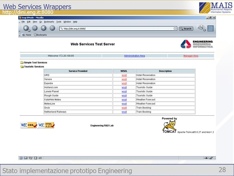 Stato implementazione prototipo Engineering 28 http://dini.eng.it:8080 Web Services Wrappers