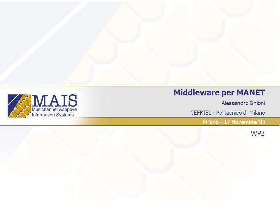 Alessandro Ghioni CEFRIEL - Politecnico di Milano Middleware per MANET WP3 Milano - 17 Novembre 04