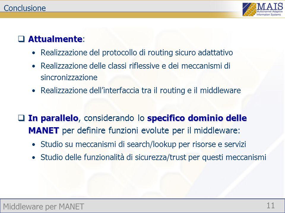 Middleware per MANET 11 Conclusione Attualmente Attualmente: Realizzazione del protocollo di routing sicuro adattativo Realizzazione delle classi rifl