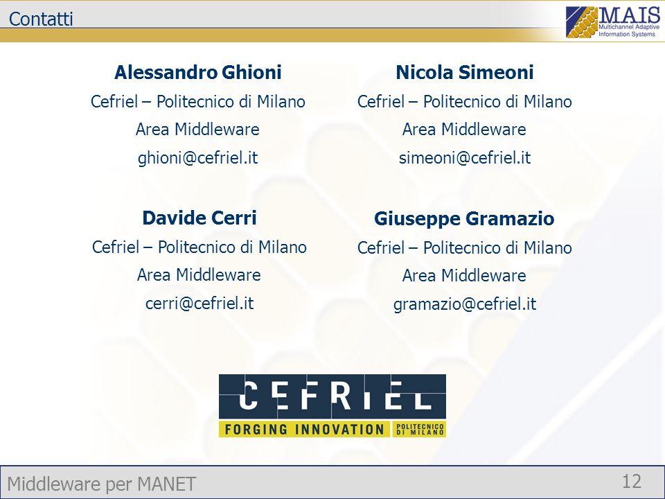 Middleware per MANET 12 Contatti Alessandro Ghioni Cefriel – Politecnico di Milano Area Middleware ghioni@cefriel.it Davide Cerri Cefriel – Politecnic