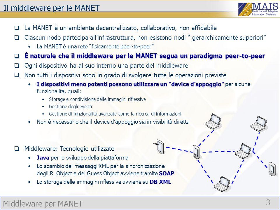 Middleware per MANET 3 Il middleware per le MANET La MANET è un ambiente decentralizzato, collaborativo, non affidabile Ciascun nodo partecipa allinfr