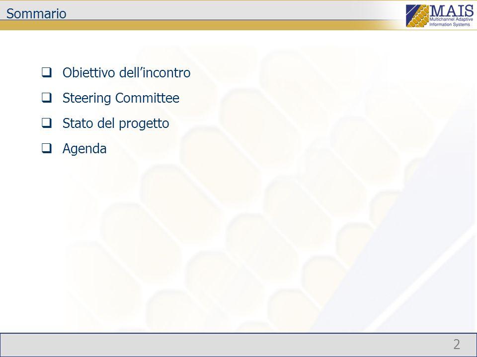 2 Sommario Obiettivo dellincontro Steering Committee Stato del progetto Agenda
