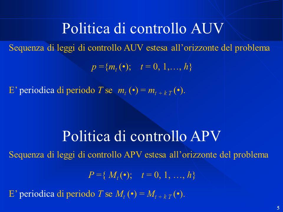 5 Politica di controllo AUV p ={m t (); t = 0, 1,…, h} Sequenza di leggi di controllo AUV estesa allorizzonte del problema E periodica di periodo T se m t () = m t + k T ().