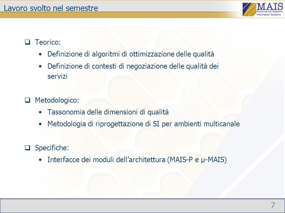 8 Presentazioni Negoziazione e vincoli di qualità (Polimi/Comuzzi) Specifica dell architettura MAIS-P (Polimi/Mussi) microMAIS (Polimi/Maurino) QoS nelle classi riflessive (Bicocca/Arcelli) (QoS) orchestratore B2B (Engineering/Presenza) La parte relativa alle metodologie verrà presentata nellambito del gruppo di lavoro metodologie