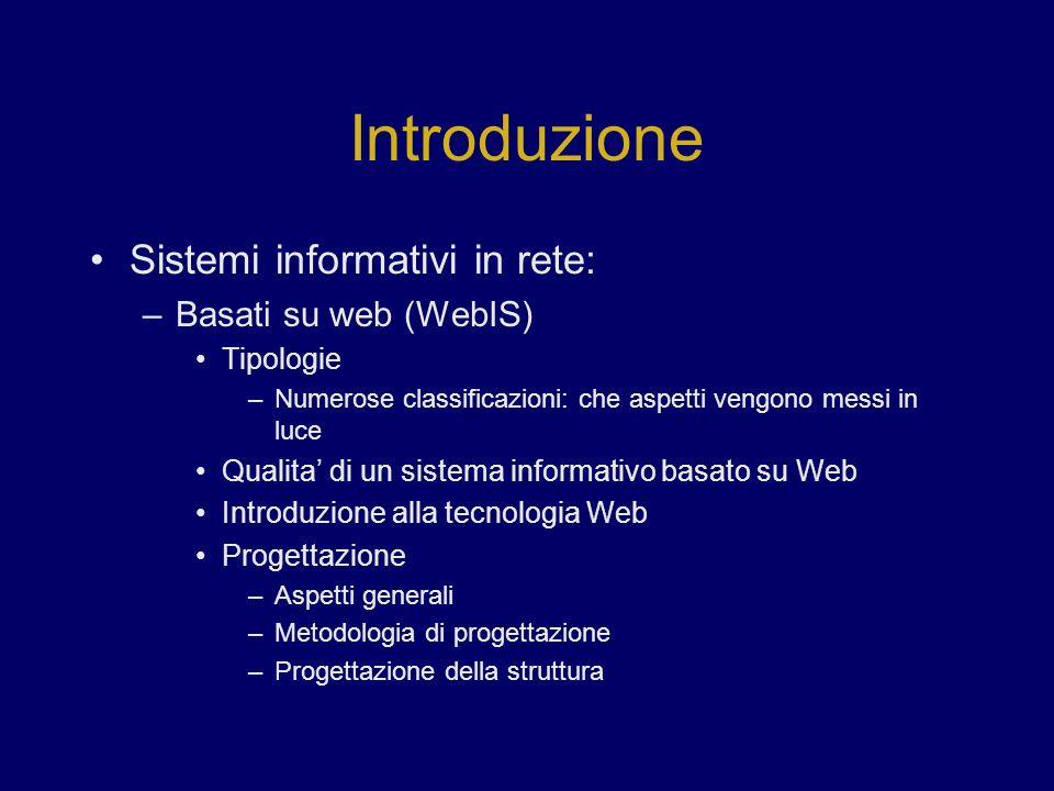 Introduzione Sistemi informativi in rete: –Basati su web (WebIS) Tipologie –Numerose classificazioni: che aspetti vengono messi in luce Qualita di un sistema informativo basato su Web Introduzione alla tecnologia Web Progettazione –Aspetti generali –Metodologia di progettazione –Progettazione della struttura
