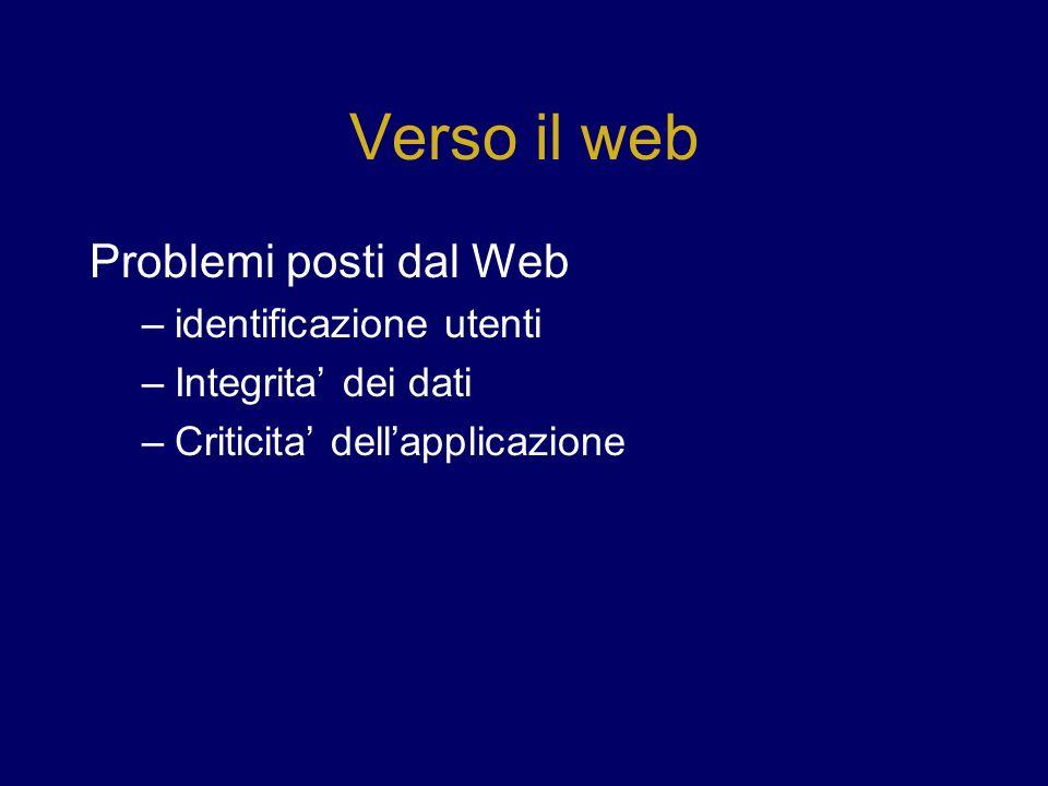 Verso il web Problemi posti dal Web –identificazione utenti –Integrita dei dati –Criticita dellapplicazione