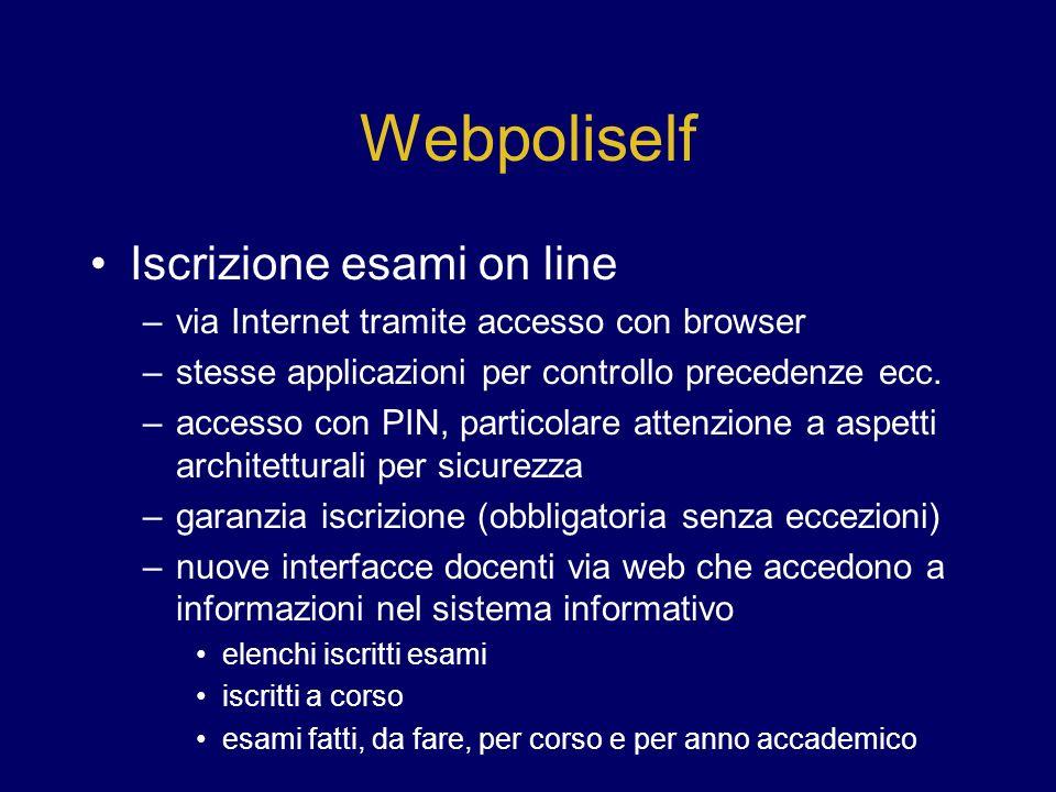 Webpoliself Iscrizione esami on line –via Internet tramite accesso con browser –stesse applicazioni per controllo precedenze ecc.