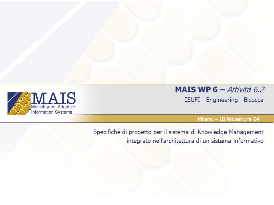 ISUFI - Engineering - Bicocca Milano – 18 Novembre 04 MAIS WP 6 – Attività 6.2 Specifiche di progetto per il sistema di Knowledge Management integrato nellarchitettura di un sistema informativo