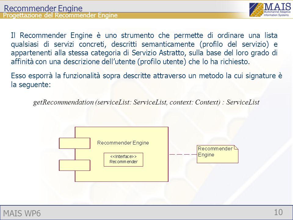MAIS WP6 10 Recommender Engine Progettazione del Recommender Engine Il Recommender Engine è uno strumento che permette di ordinare una lista qualsiasi di servizi concreti, descritti semanticamente (profilo del servizio) e appartenenti alla stessa categoria di Servizio Astratto, sulla base del loro grado di affinità con una descrizione dellutente (profilo utente) che lo ha richiesto.