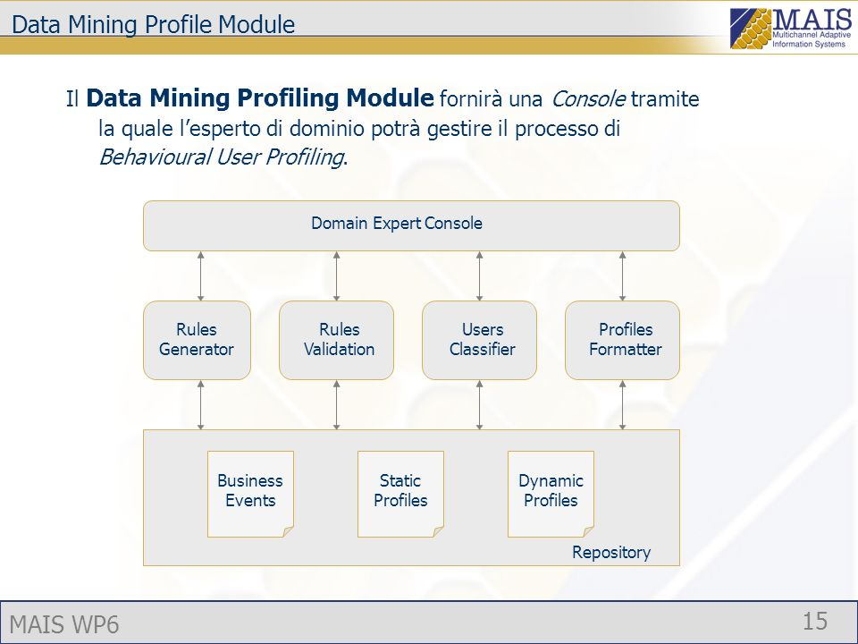 MAIS WP6 15 Data Mining Profile Module Rules Generator Rules Validation Profiles Formatter Users Classifier Business Events Static Profiles Dynamic Profiles Domain Expert Console Il Data Mining Profiling Module fornirà una Console tramite la quale lesperto di dominio potrà gestire il processo di Behavioural User Profiling.
