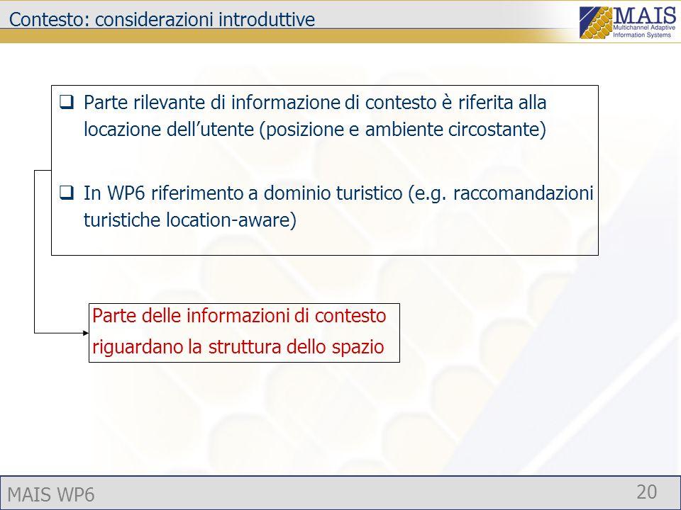 MAIS WP6 20 Contesto: considerazioni introduttive Parte rilevante di informazione di contesto è riferita alla locazione dellutente (posizione e ambiente circostante) In WP6 riferimento a dominio turistico (e.g.