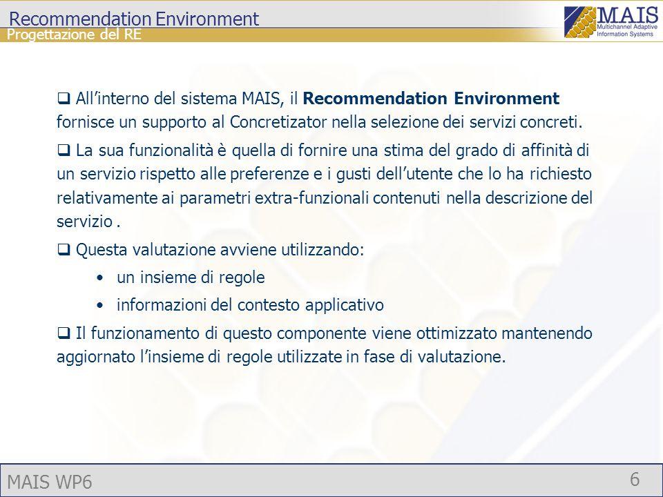 MAIS WP6 6 Recommendation Environment Allinterno del sistema MAIS, il Recommendation Environment fornisce un supporto al Concretizator nella selezione dei servizi concreti.