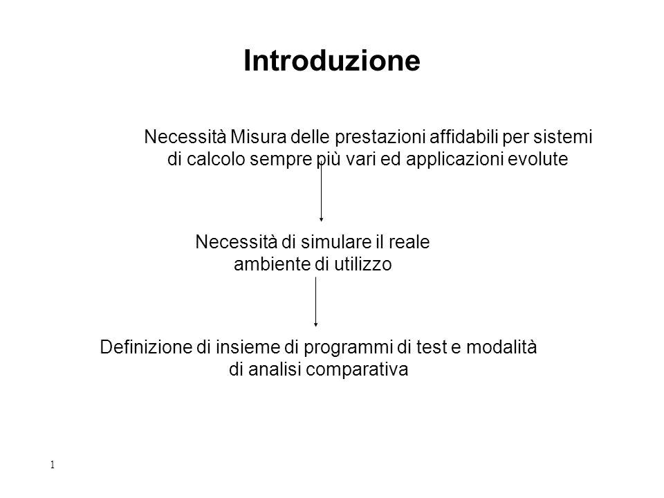 1 Introduzione Necessità Misura delle prestazioni affidabili per sistemi di calcolo sempre più vari ed applicazioni evolute Definizione di insieme di programmi di test e modalità di analisi comparativa Necessità di simulare il reale ambiente di utilizzo