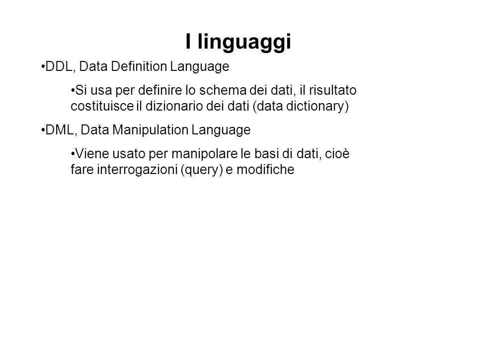 I linguaggi DDL, Data Definition Language Si usa per definire lo schema dei dati, il risultato costituisce il dizionario dei dati (data dictionary) DM