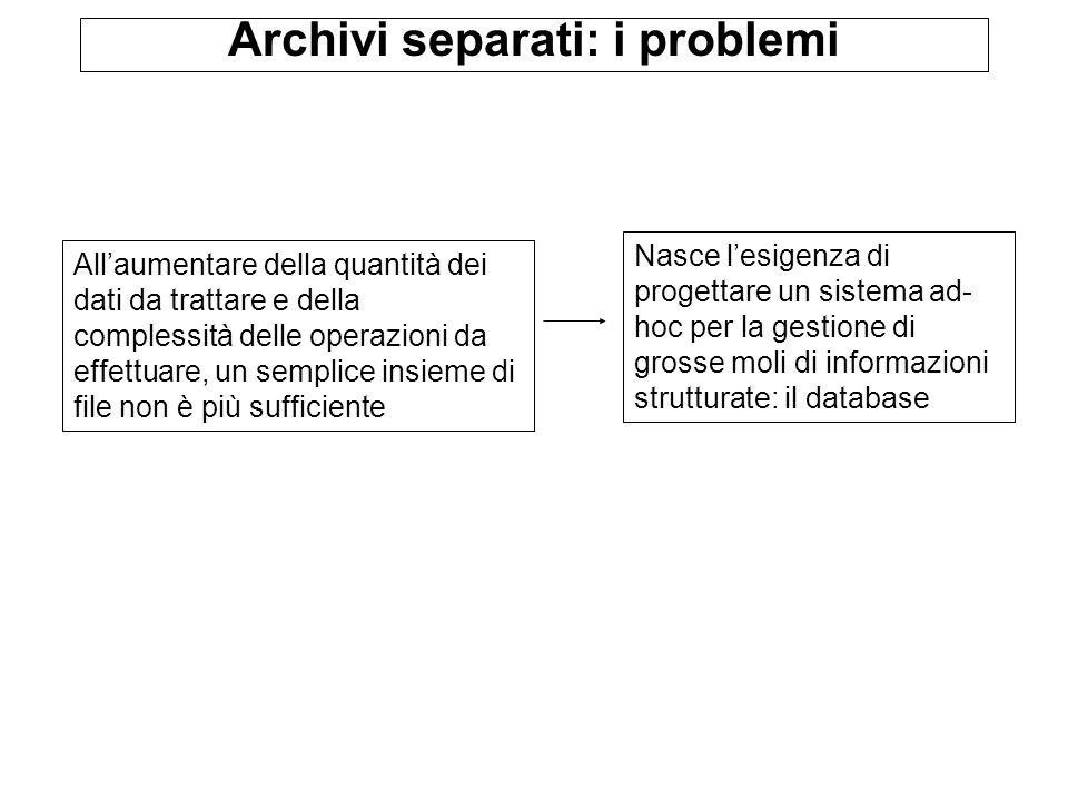 Archivi separati: i problemi Allaumentare della quantità dei dati da trattare e della complessità delle operazioni da effettuare, un semplice insieme di file non è più sufficiente Nasce lesigenza di progettare un sistema ad- hoc per la gestione di grosse moli di informazioni strutturate: il database