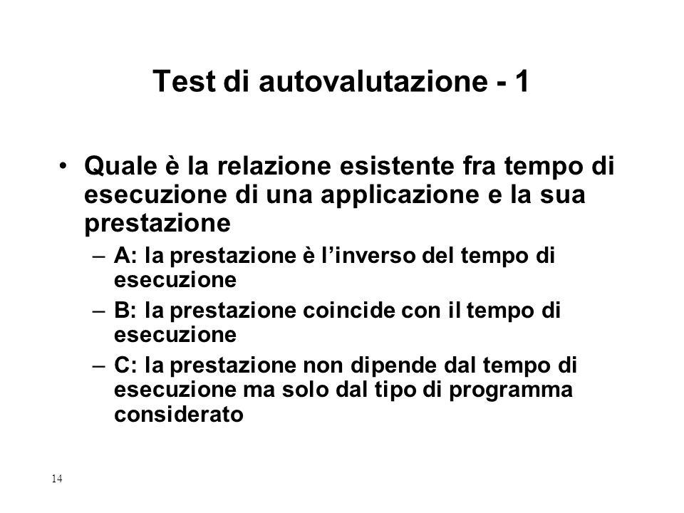 14 Test di autovalutazione - 1 Quale è la relazione esistente fra tempo di esecuzione di una applicazione e la sua prestazione –A: la prestazione è li